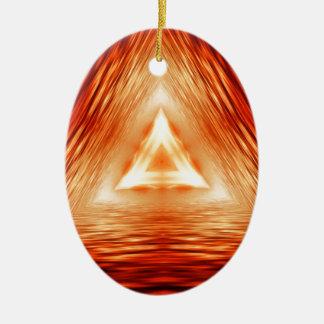 Ornamento De Cerâmica Teste padrão vermelho do triângulo