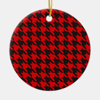Ornamento De Cerâmica Teste padrão vermelho e preto de Houndstooth