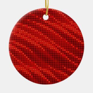 Ornamento De Cerâmica Teste padrão vermelho vibrante do ponto & de onda