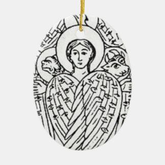Ornamento De Cerâmica Tetramorph, preto e branco