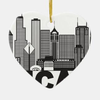 Ornamento De Cerâmica Texto da skyline da cidade de Chicago preto e