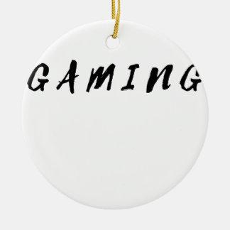 Ornamento De Cerâmica Texto limpo simples do preto do jogo do Gamer