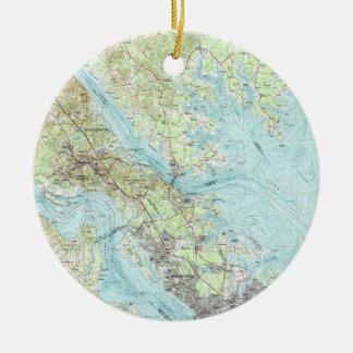 Ornamento De Cerâmica Tidewater Virgínia Mapa (1984)