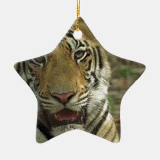 Ornamento De Cerâmica Tigre bonito e sorrindo