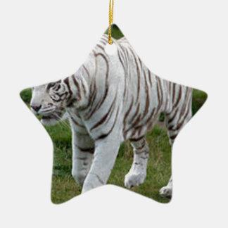 Ornamento De Cerâmica Tigre branco