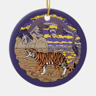 Ornamento De Cerâmica Tigre e dragão