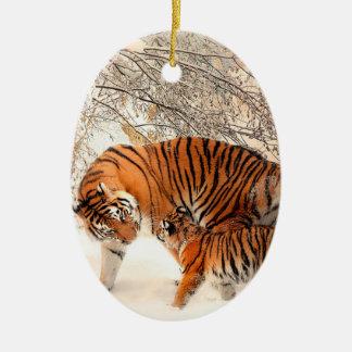 Ornamento De Cerâmica Tigre e filhote - tigre