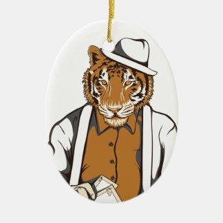 Ornamento De Cerâmica tigre humano com cartões de jogo