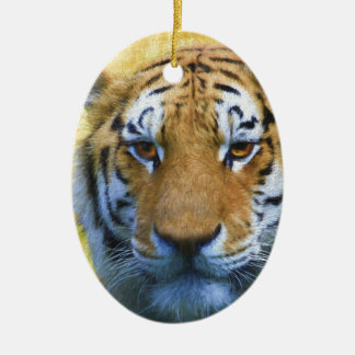 Ornamento De Cerâmica Tigre no bambu - pintura