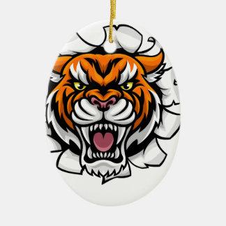 Ornamento De Cerâmica Tigre que guardara a bola do basebol que quebra o