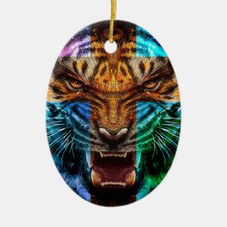 Ornamento De Cerâmica Tigre transversal - tigre irritado - cara do tigre
