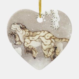 Ornamento De Cerâmica Tigre velho na neve
