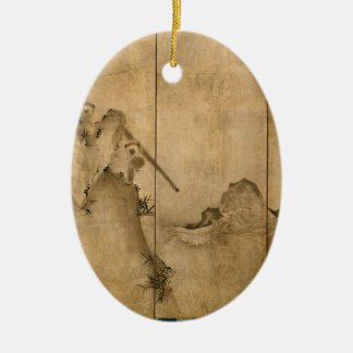 Ornamento De Cerâmica Tinta japonesa nos primatas de papel & na paisagem