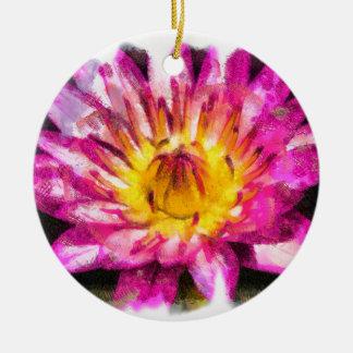 Ornamento De Cerâmica Tinta roxa da aguarela do lírio de água