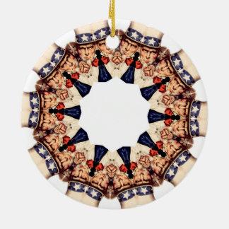 Ornamento De Cerâmica Tio Sam que aponta o caleidoscópio do dedo