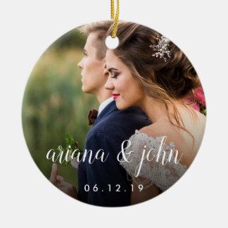 Ornamento De Cerâmica Tipo elegante foto Wedding personalizada  