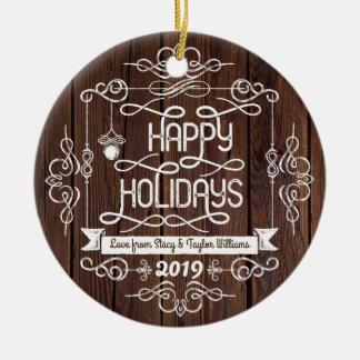 Ornamento De Cerâmica Tipografia rústica do Natal da madeira boas festas