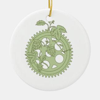 Ornamento De Cerâmica Tiragem dos saltos da manivela do anel do vintage