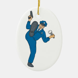 Ornamento De Cerâmica Tocha da lanterna elétrica da arma do polícia que