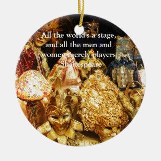 Ornamento De Cerâmica Todo o mundo é umas citações de Shakespeare do
