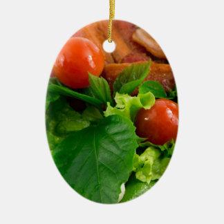 Ornamento De Cerâmica Tomates de cereja, ervas, azeite, ovos e bacon