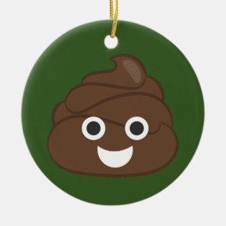 Ornamento De Cerâmica Tombadilho parvo louco Emoji de Brown