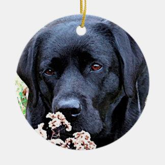 Ornamento De Cerâmica Tome o tempo - Labrador preto