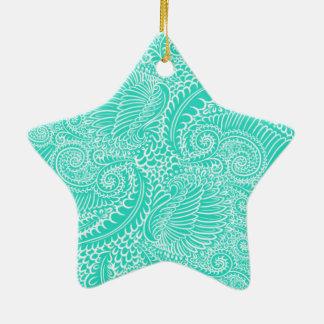 Ornamento De Cerâmica Torções florais do verde de mar