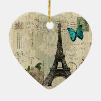 Ornamento De Cerâmica Torre Eiffel cor-de-rosa de Paris da borboleta de