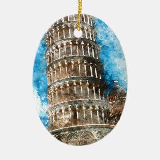 Ornamento De Cerâmica Torre inclinada de Pisa em Italia