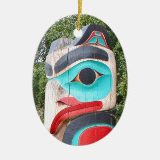 Ornamento De Cerâmica Totem pólo do nativo americano, Anchorage, Alaska