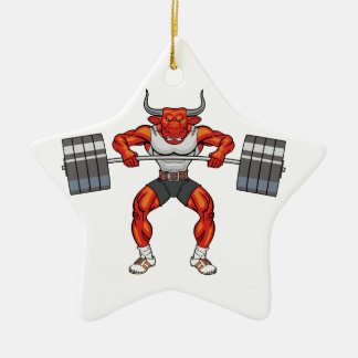 Ornamento De Cerâmica touro 2 do levantamento de peso