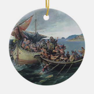 Ornamento De Cerâmica Trabalhos de arte da batalha naval de Viking do