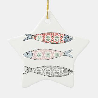Ornamento De Cerâmica Traditional Portuguese icon. Colored sardines