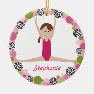 Ornamento De Cerâmica Trança de Brown do Gymnast da estrela nos rosa