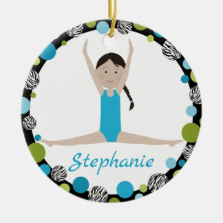 Ornamento De Cerâmica Trança do preto do Gymnast da estrela no Aqua e no