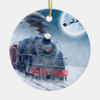 Ornamento De Cerâmica Trem da meia-noite do Natal com menina e papai