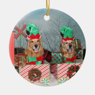 Ornamento De Cerâmica Trem do Natal do golden retriever
