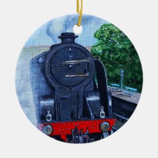 Ornamento De Cerâmica Trem do vapor na estação