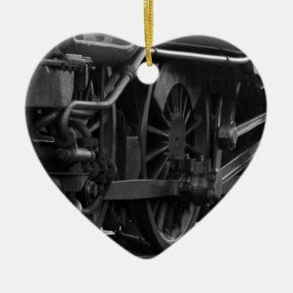 Ornamento De Cerâmica Trem preto e branco