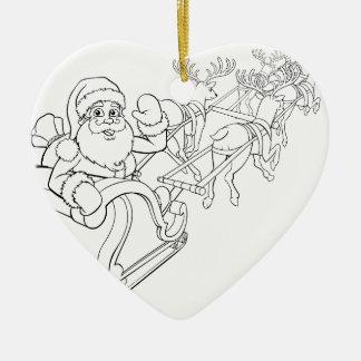 Ornamento De Cerâmica Trenó do trenó do Natal de Papai Noel e de rena