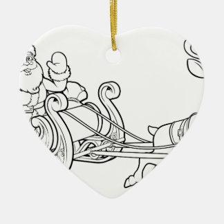 Ornamento De Cerâmica Trenó Reindee do trenó do Fling do Natal de Papai