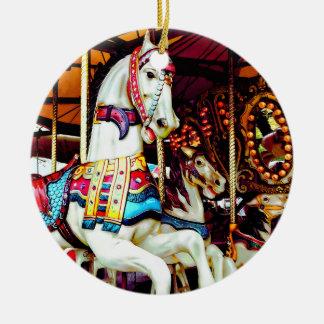 Ornamento De Cerâmica Três cavalos do carrossel