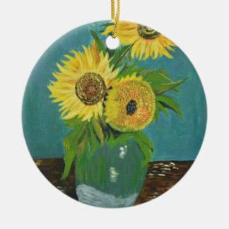 Ornamento De Cerâmica Três girassóis em um vaso, Van Gogh