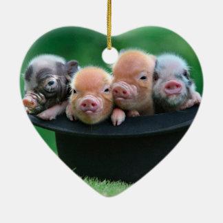 Ornamento De Cerâmica Três porcos pequenos - três porcos - chapéu do
