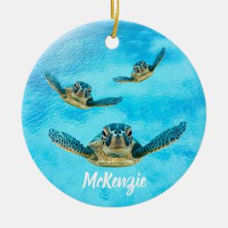 Ornamento De Cerâmica Três tartarugas de mar que nadam