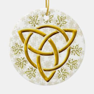 Ornamento De Cerâmica Tri-Quatra dourado do falso com os flocos de neve