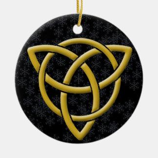 Ornamento De Cerâmica Tri-Quatra dourado em flocos de neve & em preto de