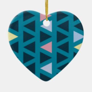 Ornamento De Cerâmica Triângulos com amor azul e cor-de-rosa