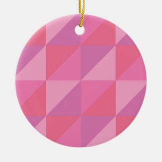 Ornamento De Cerâmica Triângulos cor-de-rosa